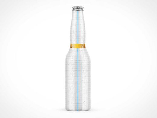 Long Neck Amber Beer Bottle PSD Mockup