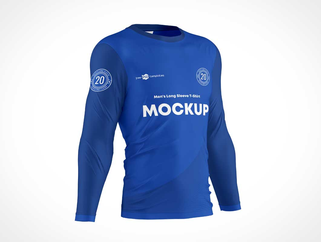 Long Sleeve Men's Sport Jersey PSD Mockup