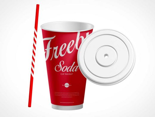 Paper Soda Cup & Straw PSD Mockup