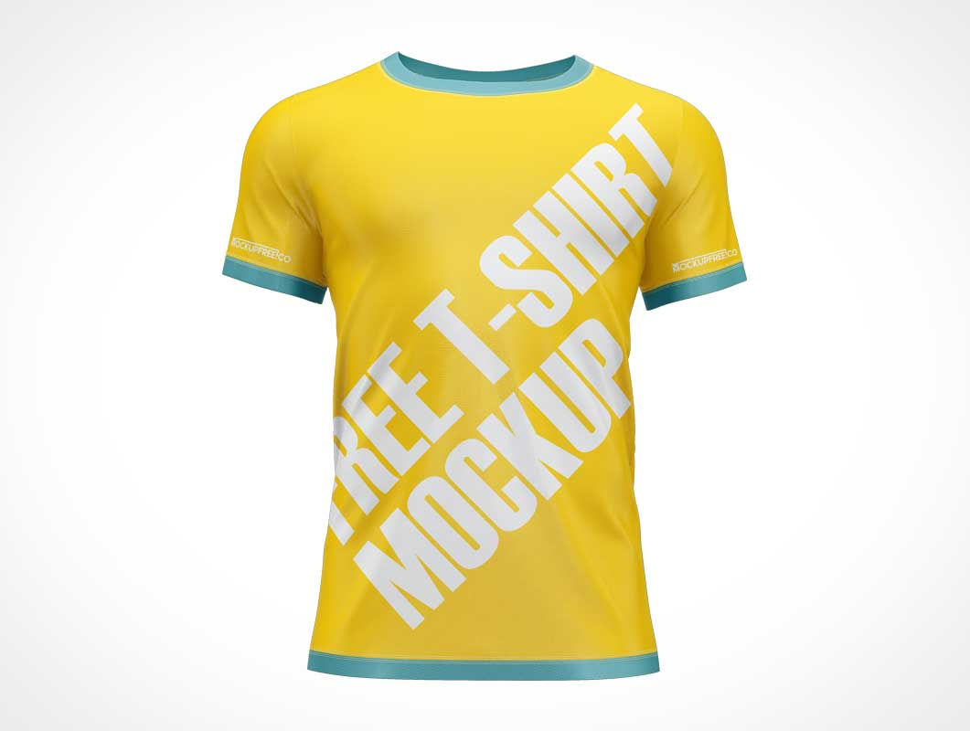 Round Collar Sport T-Shirt PSD Mockup