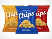 Sealed Foil Chip Bags PSD Mockup