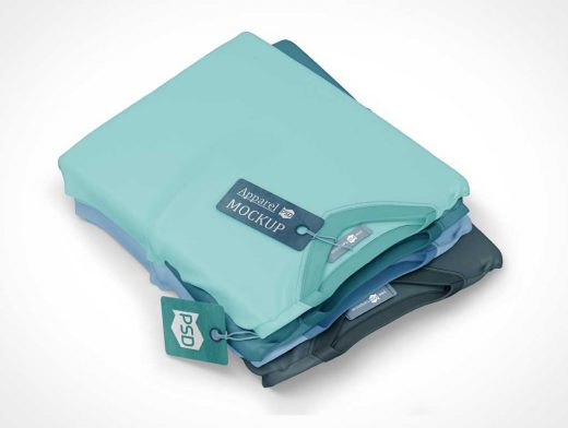 Stacked Folded T-Shirts PSD Mockup