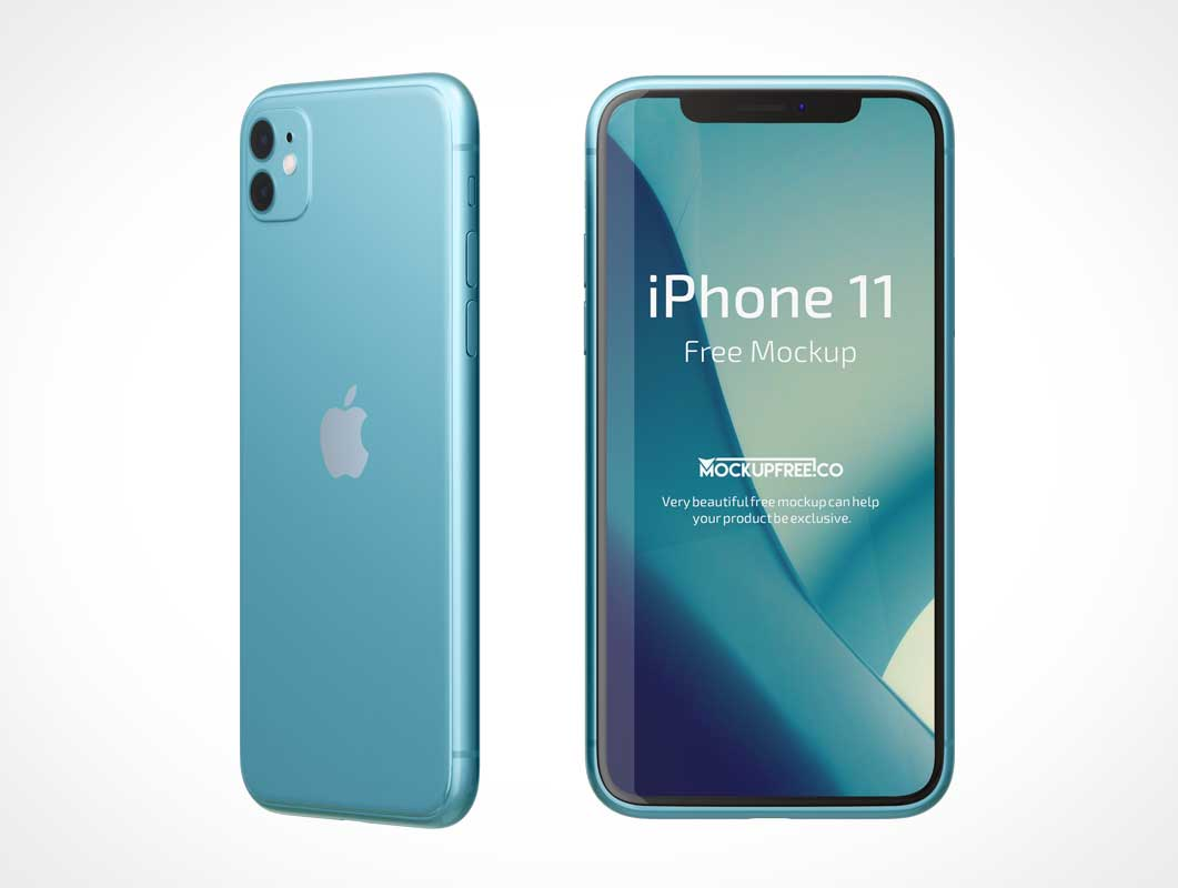 iPhone 11 Front & Back Views PSD Mockup