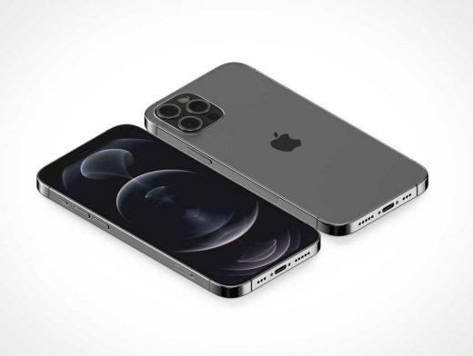 iPhone 12 Pro Screen & Back Cameras PSD Mockup