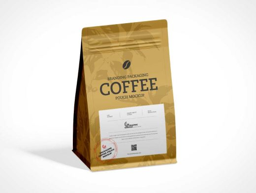 Aluminium Flat Bottom Coffee Pouch PSD Mockup