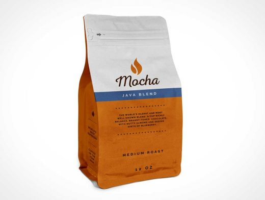 Aluminum Foil Flat Bottom Coffee Bag PSD Mockup