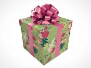 Gift Wrapped Square Gift Box & Bow PSD Mockup