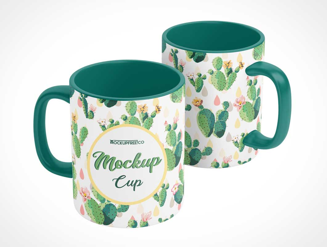 Glazed White Ceramic Coffee Mug PSD Mockups