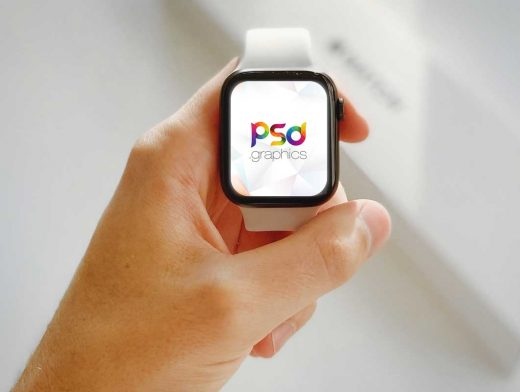 Holding Apple Watch PSD Mockup