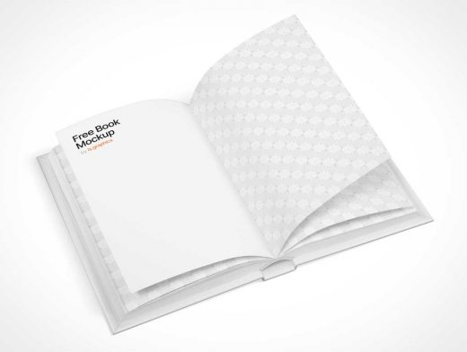 Opened Hardcover Book Page Flip PSD Mockup