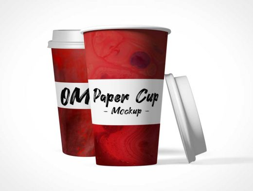 Sip-Through Paper Coffee Cups PSD Mockup