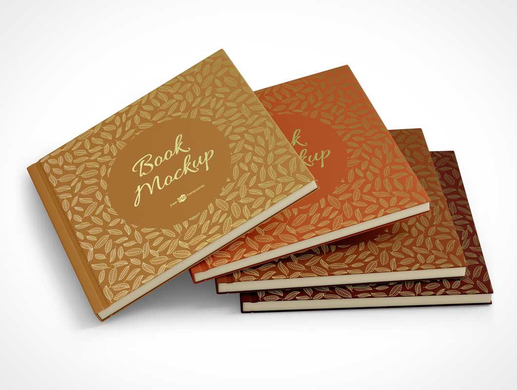 Thin Hardcover Story Books PSD Mockup