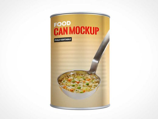Tin-Plated Steel Open Top Can PSD Mockup
