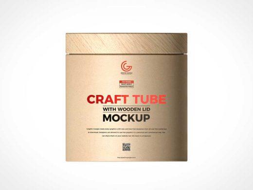 Wood Lid Kraft Tube Container PSD Mockup