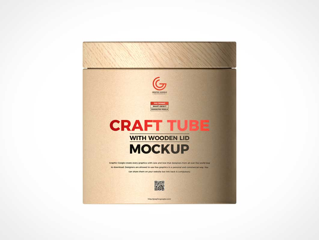 Wood Lid Kraft Tube Container PSD Mockup