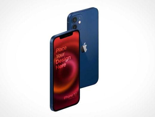 iPhone Pro 12 Front & Back Isometric PSD Mockup