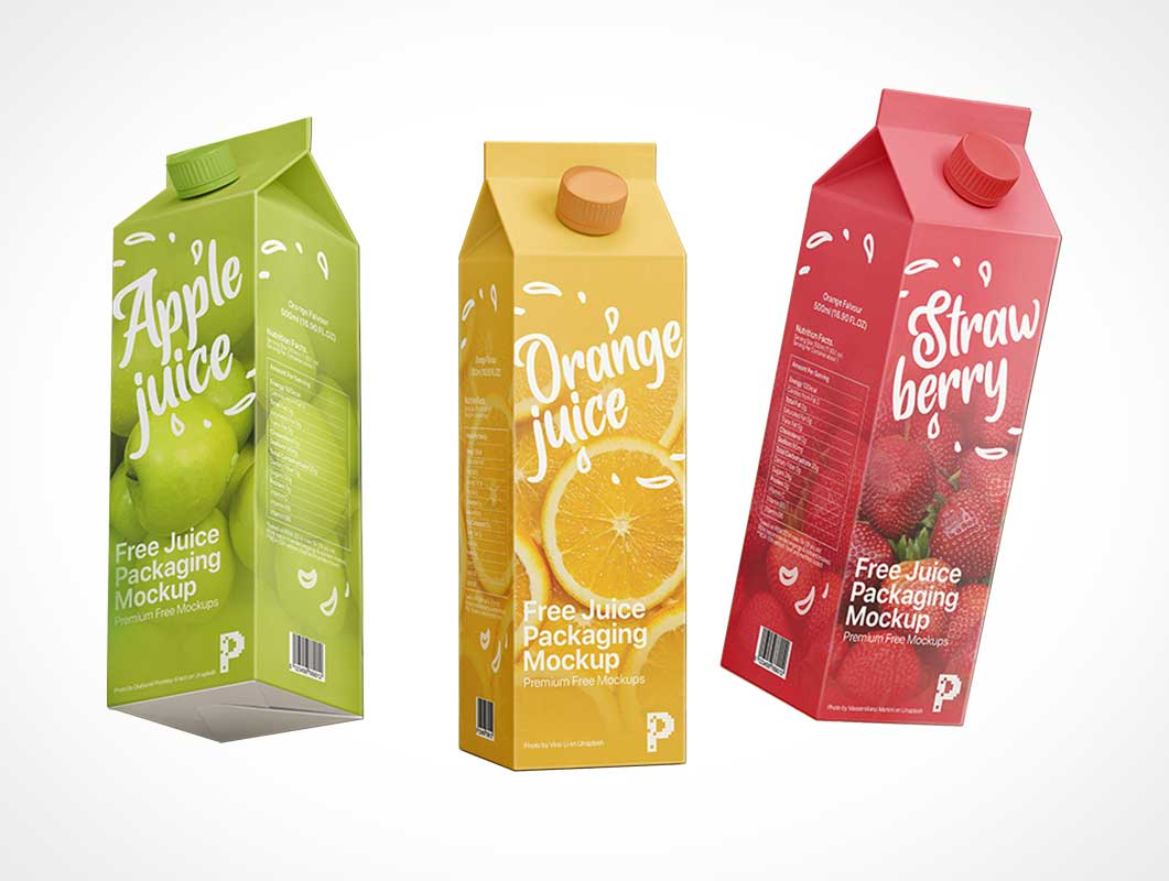 1L Gable Top Juice Cartons PSD Mockup