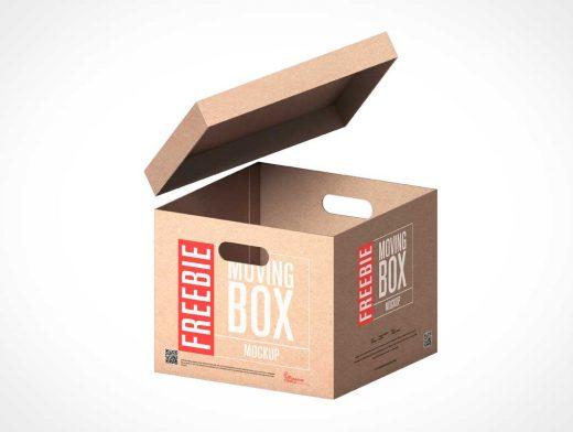 Cardboard Moving Bankers Box PSD Mockup