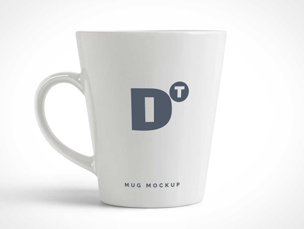 Conical White Coffee Mug PSD Mockup