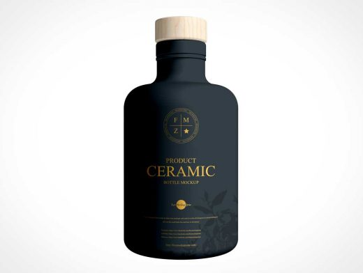 Dark Ceramic Bottle & Wooden T-Cork PSD Mockup