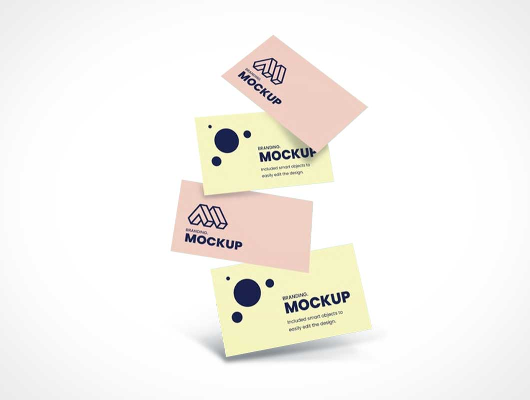 Falling Business Cards PSD Mockup