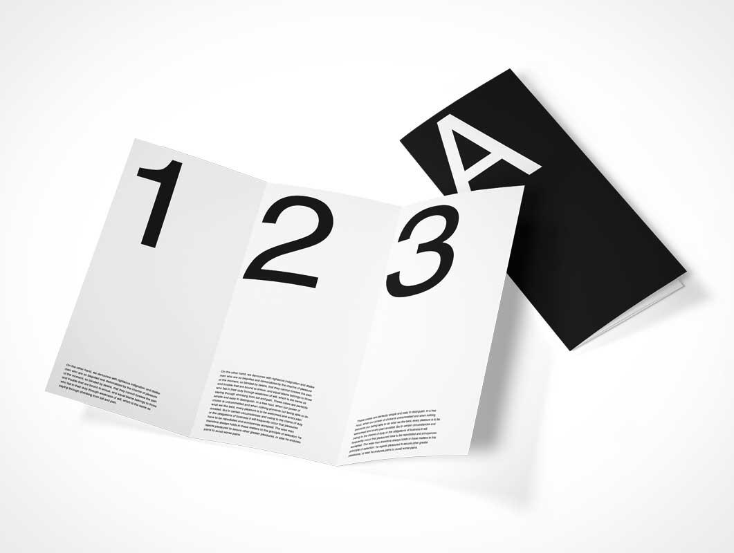 Tri-Fold 6 Panel Flyer PSD Mockup