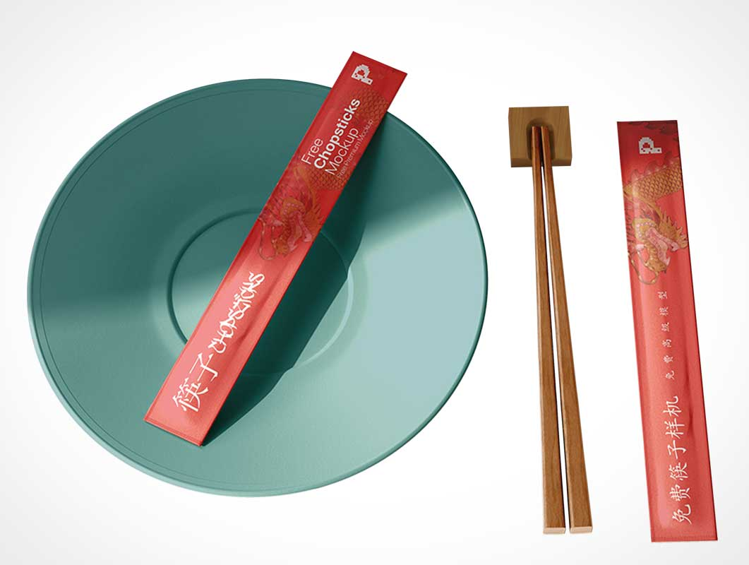 Wood Chopstick Paper Packaging PSD Mockup