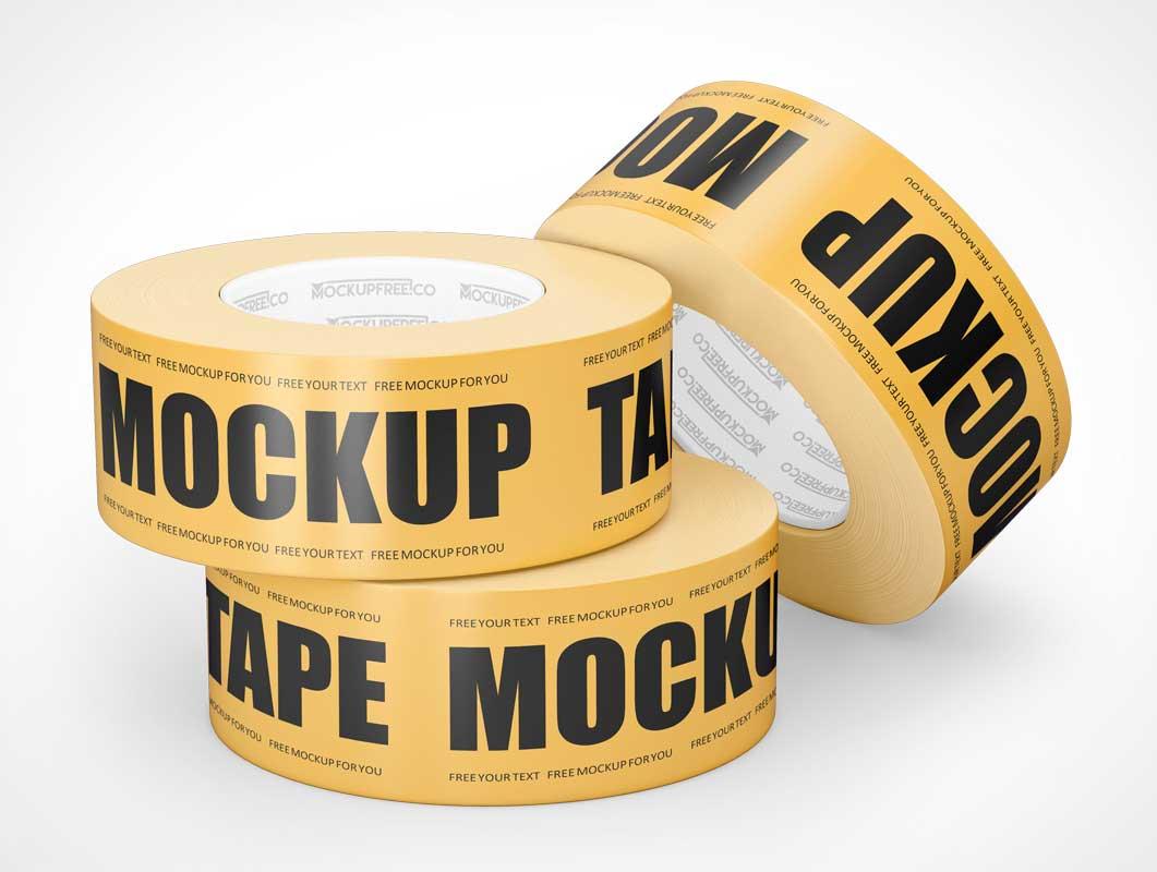 Yellow Duct Tape Rolls PSD Mockup