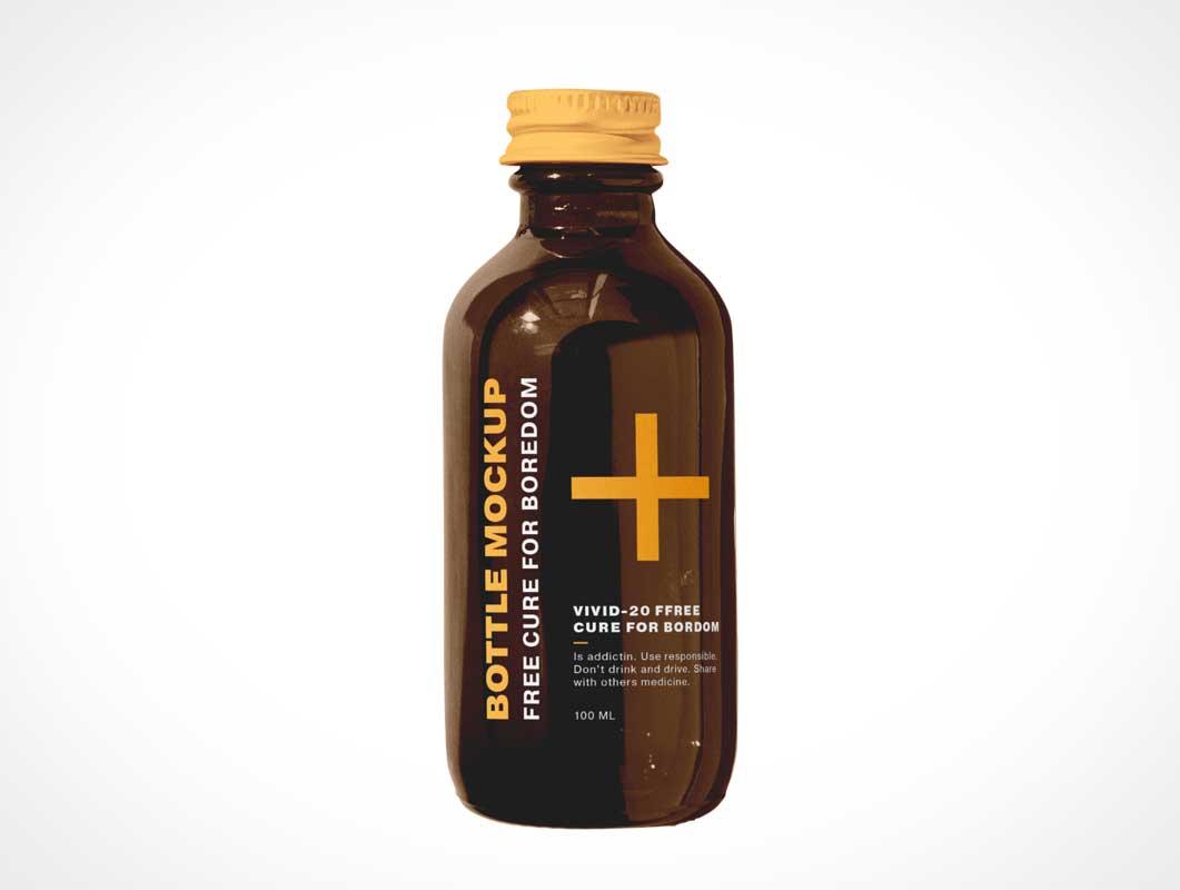 Amber Glass Medicine Bottle PSD Mockup