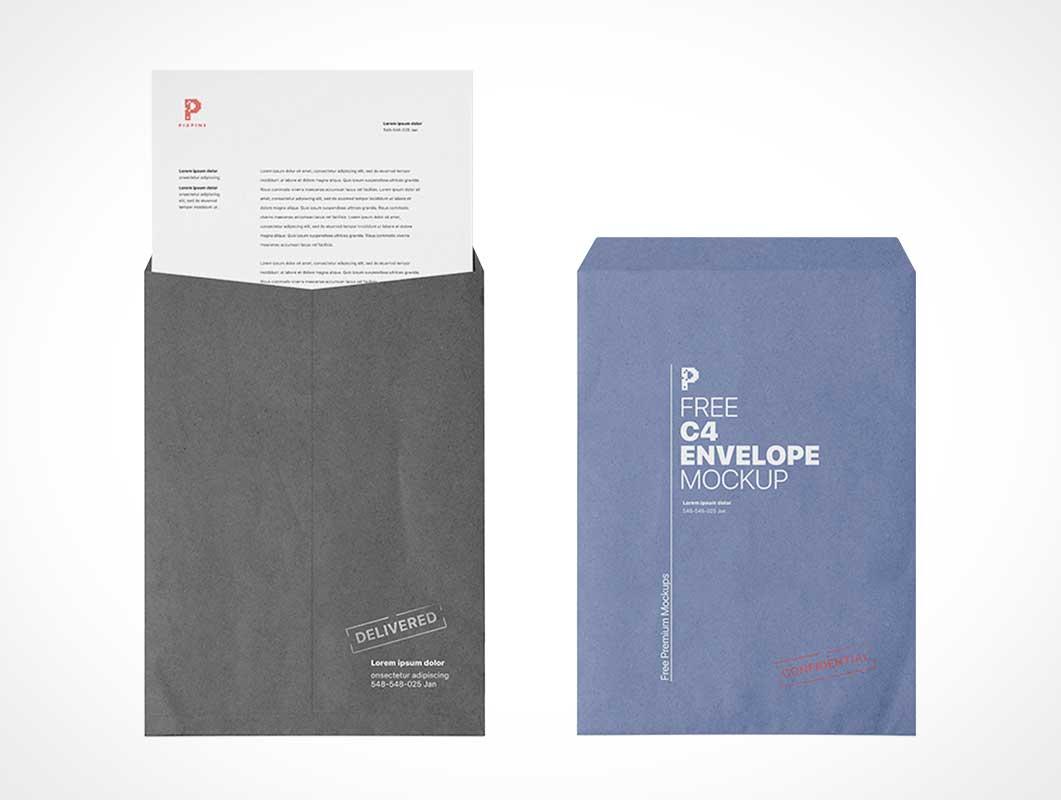 C4 Envelope & Letter PSD Mockup