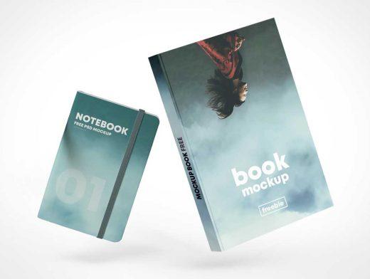 Floating Hardcover & Notepad Books PSD Mockup