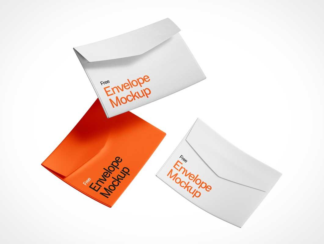 Free Falling Envelopes PSD Mockup