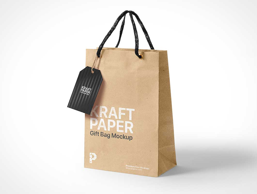 Kraft Paper Bag & Sale Tag PSD Mockup