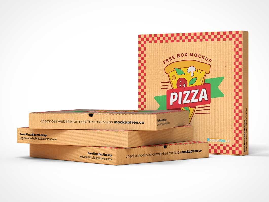 Take Out Delivery Pizza Boxes PSD Mockup