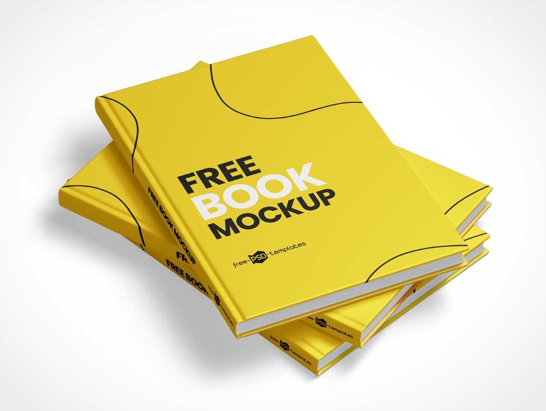 Three Hardcover Book Pile PSD Mockup