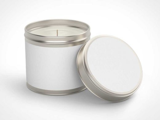 Wax Candle Tin Canister PSD Mockup