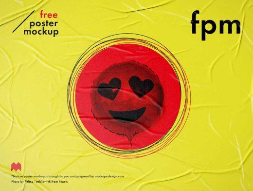Wrinkled Street Poster PSD Mockup