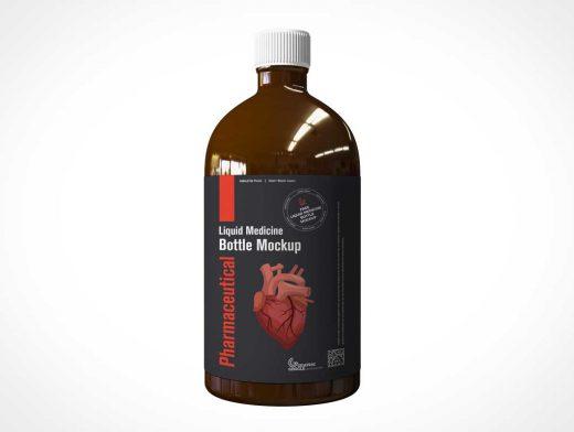 Amber Glass Boston Round Bottle PSD Mockup