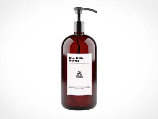 Amber Soap Bottle & Pump Nozzle PSD Mockup