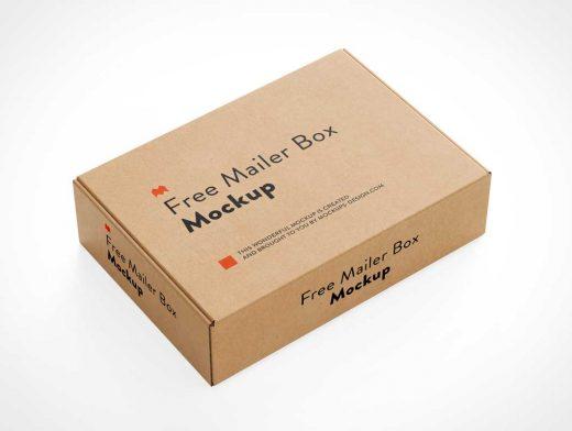 Cardboard Kraft Mailer Box PSD Mockup