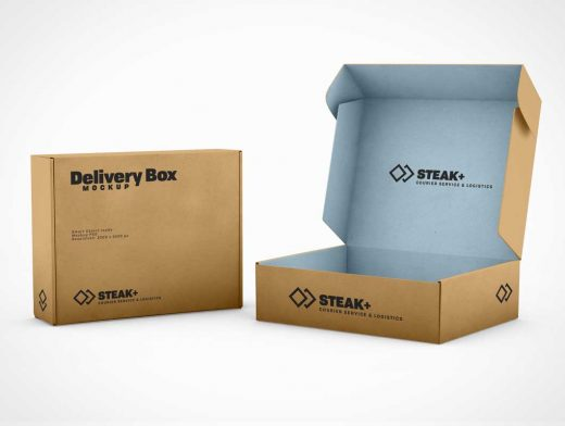 Corrugated Retention Mailer Box PSD Mockup