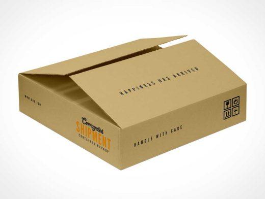 Corrugated Shipping Box PSD Mockup
