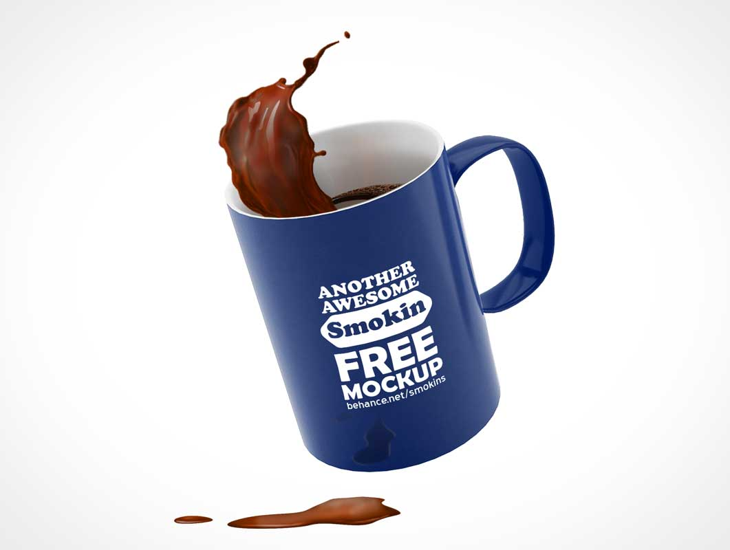 Floating Ceramic Coffee Mug PSD Mockup