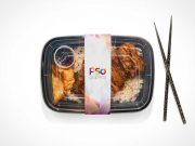 Microwavable Plastic Takeout Food Packaging PSD Mockup