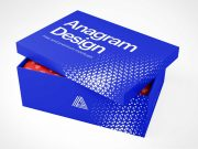 Paperboard Shoe Box PSD Mockup
