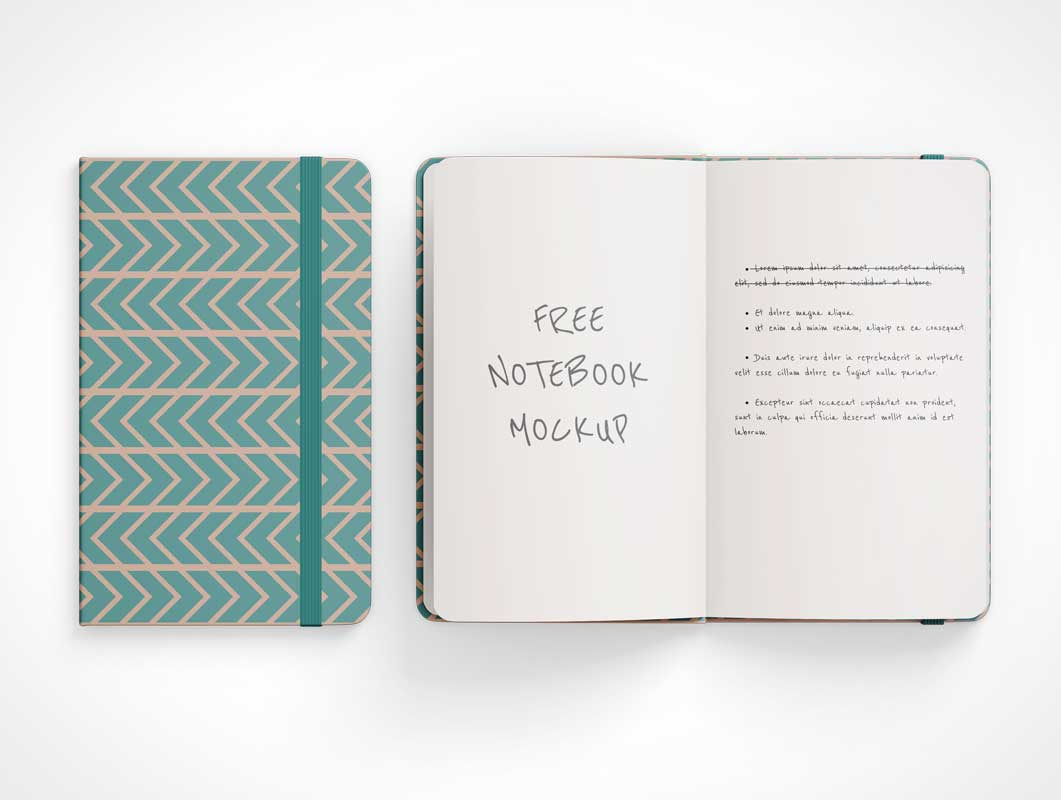 Round Corner Notebook PSD Mockup