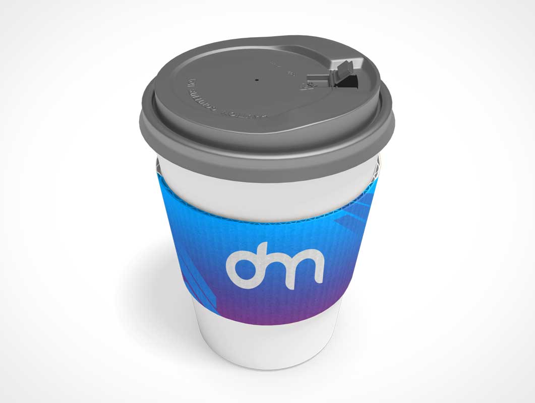 Sip-Through Coffee Cup & Heat Guard PSD Mockup