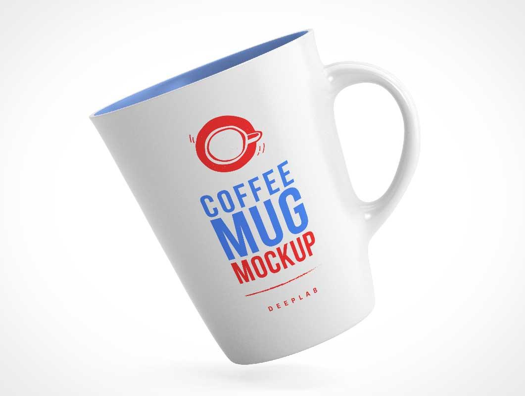 V-Shape Conical Ceramic Mug PSD Mockup