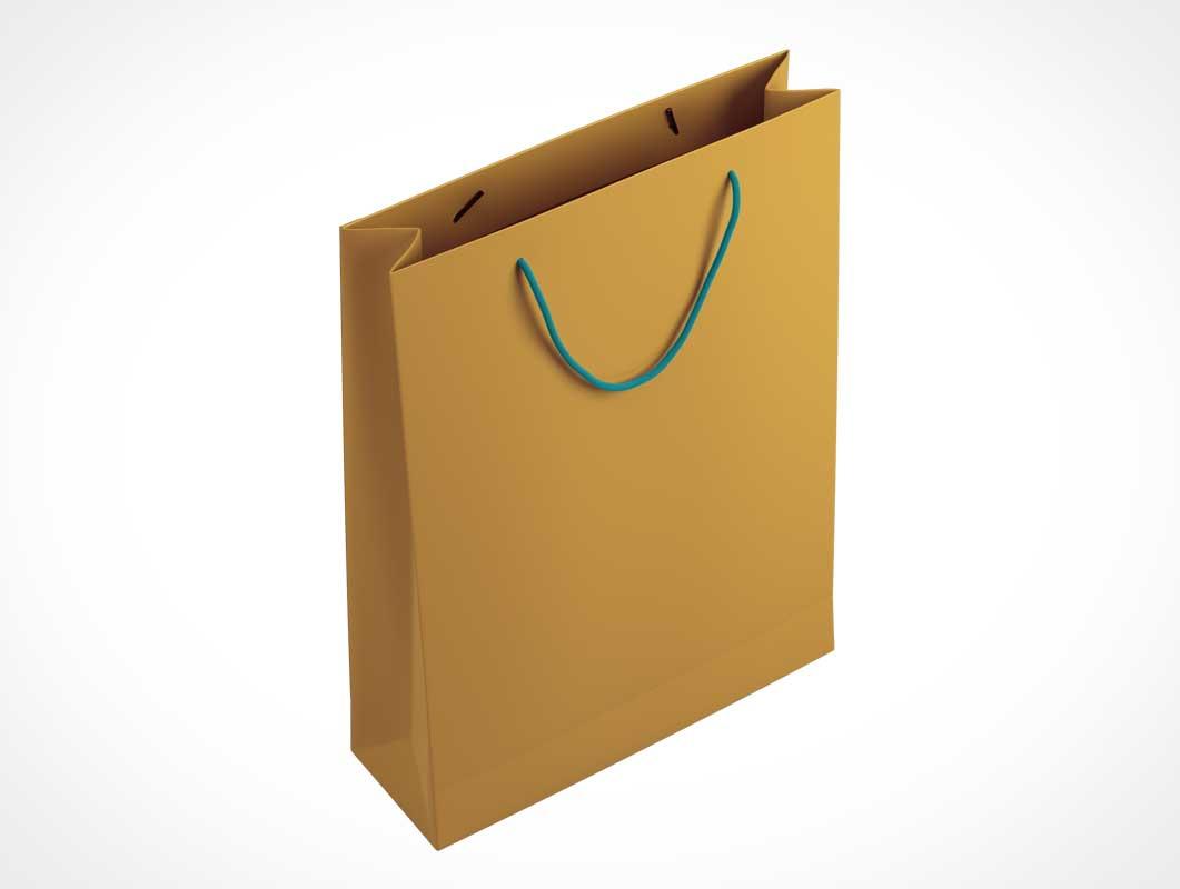 Brown Paper Bag & String Handle PSD Mockup