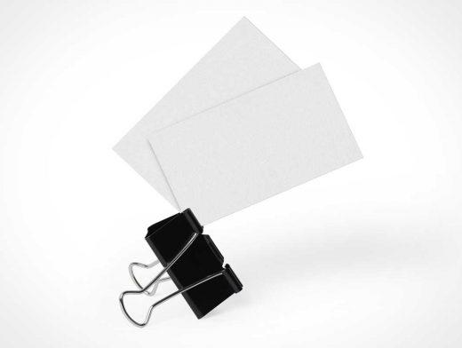 Business Cards & Binder Clip PSD Mockup